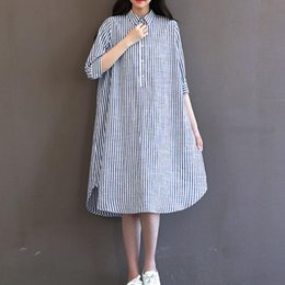 Manches Longues Verticales Pas Cher-Women Dress Plus Size Women Vêtements Loose Vertical Stripe Spring Dress Squarre Collar Robe à manches longues à manches longues