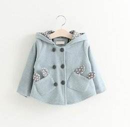Little Girls Boutique Clothing Canada - Little Girls Bunny Ear Pocket Hoodie Coats Fall 2018 Kids Boutique Clothing 1-4 Year Girls 2 Line Buttons Outerwear
