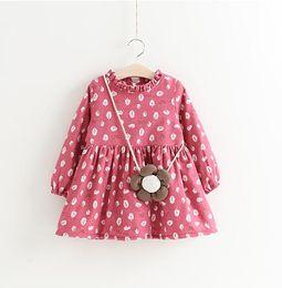 $enCountryForm.capitalKeyWord NZ - Girls Floral Dresses Plus Fleece 2017 Winter Fall Kids Boutique Clothing Korean 2-7 Year Little Girls Long Sleeves Dresses with Bag