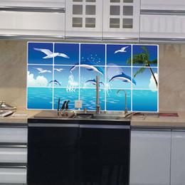 Waterproof Bathroom Kitchen Tile Aluminum Foil Wall Sticker Home Decor Wall Sticker Dolphin Fish Beach Ocean
