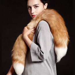 Fur Scarves Wraps Canada - Wholesale- Women Natural Fox Fur Collar Scarves Scarf Wrap Cape Scarves Stole Winter Shawl Real Fox Scarves Collar Accessories