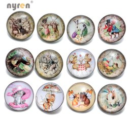 Wholesale KZ0381 Vintage Buttons Cartoon Mice Rabbit Series Glass Snap Buttons Fit DIY mm Snaps Jewelry