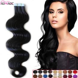Magic Hair Wholesale NZ - High Quality 9A Hot Selling Brazilian Virgin Hair Body Wave Pu Skin Weft Tape Human Hair Extensions 18''20''22''24''inch Ali Magic Wholesale