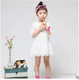American Wedding Dress Shipping NZ - New Arrival Girls Lace White Wedding Dress Half Sleeve Embroider Mini Dresses Kids Performing lace Skirt 7 color Free Shipping