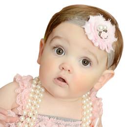 $enCountryForm.capitalKeyWord Canada - Fashion Baby headbands girls Shabby Chic Flower Headbands Elastic Rose Hairbands Children Hair accessories Pearl Rhinestone Boutique KHA573