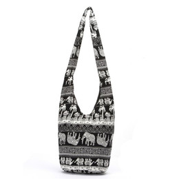China Fashion Bags Cross Body Elephant Sling Crossbody Shoulder Bag Purse Thai Top Zip Handmade New Color Black Lady Shopping Creative Bags cheap handmade cotton linen suppliers