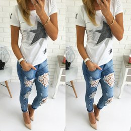 Vente De Jeans Pour Femme Pas Cher-Wholesale- 2106 New Arrival Fashion Hot Sale Cheap Womens Skinny Lace Crochet Stretch Denim Slim Jeans Pantalon Blue Ripped