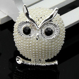 cute jewelry for sale NZ - Hot sale New arrive Lovely simulated pearl owl brooches for girl women animal cute pins for party jewelry broche