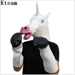 $enCountryForm.capitalKeyWord Canada - Top Grade Latex Unicorn Head Masks with 1 Pair Latex Hooves Gloves Scary Animal Mask Costume Prop for Halloween Party Cosplay