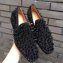 a6244b2d39e8 Factory Price! fashion Studs Red Bottom Loafers Men Flats With Spikes and  Diamonds Glitter Slipper Shoes Black Genuine Leather Wedding Dress