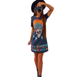 Barato Camisas Retro Crânio-Atacado- Imprimir Punk Rove Skull Russia Vestido Mulheres Cor Retro Vintage Dress Summer 2017 Short Sleeve Sexy Casual Mini Shift Shirt Dress