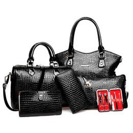 bbb27a25a59e Wholesale- Crocodile Pattern Women Bag Sets Women Handbag Pu Leather  Shoulder Bag Messenger Bags Lady Day Clutch Tote Bolsas 6pcs set S004