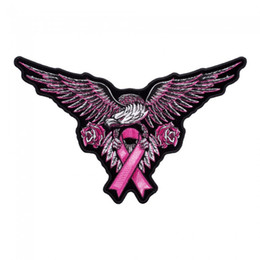Barato Borda A Fita-Pink Eagle Breast Cancer Ribbon Patch, Consciência Bordado Iron On Or Sew On Parches 5.25 * 3.25 INCH Frete Grátis