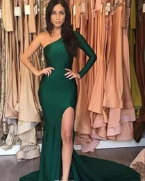 Barato Vestido Verde Escuro De Manga-2017 Dark Green Prom Dresses One Shoulder Stain Mermaid Evening Party Gowns Side Split Party Vestidos formais com manga comprida Zipper Voltar