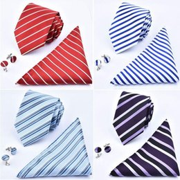 2018 ties sets Neck Tie Handkerchief Cuff Links Set 24 Colors 145*8cm Jacquard Necktie Men's Stripe necktie for Father's Day business tie gift ties sets on sale