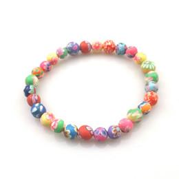 Polymer Bracelets NZ - Kids Printed Beaded Bracelet 6mm Polymer Clay Bracelets For School Children 20pcs lot Wholesale Free Shipping