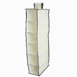 812f6f252724 Clothing Weaving UK - Storage Hanging Bags Non woven Multi Lattices  Container Beige Durable Accessory Shelves