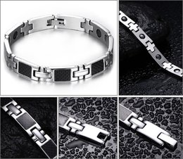 Fiber Link NZ - FASHION Hot Sale Men Bracelets Carbon Fiber Stainless Steel Magnetic Health Hand Bracelet with Zircons Man Jewelry Therapy Bracelet B830S