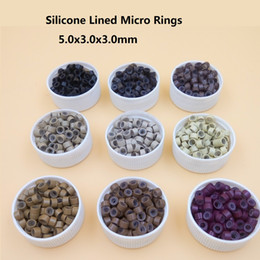 Discount links for hair extensions - Wholesale-1000pcs 5mm Micro Ring Beads Silicone Bead Link microring for Feather Human Hair Extension tools 3# dark brown