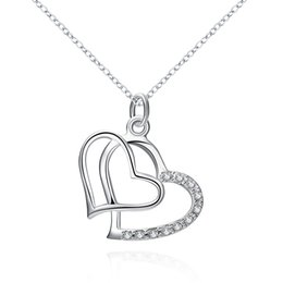 $enCountryForm.capitalKeyWord Canada - Beautiful 925 Sterling Silver Pendants Double Heart Rhinestone Pendants with 18inch Rolo Chain Choker Necklaces Simple Style Crystal Jewelry