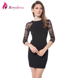 Robe Extensible En Dentelle Noire Pas Cher-Berydress Elegant Womens Cocktail Party 3/4 Sleeve Lace Raglan Sleeve Sexy Nightclub Stretchy Gaine Black Bodycon Robe courte q170636