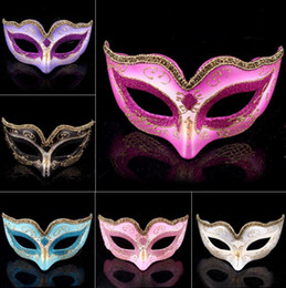 Mask Baratos-Mascarada Ball Dance <b>Mask</b> Moda mujer Traje Fancy Dress Prom Eye Máscara Mardi Party boda máscaras Gold Glitter Edge favorece