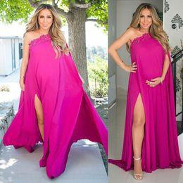 pregnant party wear dresses 2019 - Cheap 2017 Fuchsia Chiffon Pregnant Evening Party Dresses One Shoulder High Split Side Plus Size Chiffon Maternity Dress