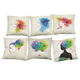 $enCountryForm.capitalKeyWord UK - Ink Floral Girl Pattern Linen Cushion Cover Home Office Sofa Square Pillow Case Decorative Cushion Covers Pillowcases Without Insert(18*18)