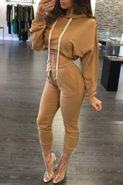 two piece overalls 2019 - Wholesale- Women Jumpsuit Romper 2016 Autumn Hooded Playsuits Ankle Length Long Sleeve Two Pieces Overalls Outfits disco