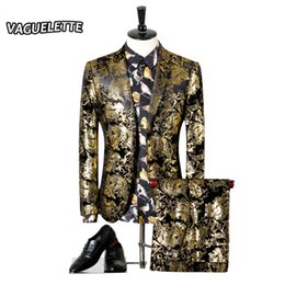 Chinese  Wholesale- Men Wedding Suit Golden Tuxedo Paisley Flores Mens Stage Wear For Singer Slim Fit Sknniy Male Suit With Pants 3XL(Blazer+Pants) manufacturers