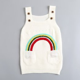 BaBy clothes factory online shopping - Children Rainbow Dresses Baby Girls Knitted Sweater Suspender Skirt Spring Autumn Kids Clothing Cheap Factory Free DHL