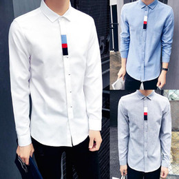 Chemises Longues À La Mode Au Printemps Pas Cher-Fashion Autumn Spring Men Vêtements de haute qualité Slim Fit Long Sleeve Fit Casual White Business Work Shirts Taille Plus