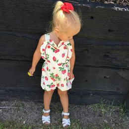 $enCountryForm.capitalKeyWord Canada - INS Hot New European and American Baby girls summer new strawberry heart-shaped lace overalls Rompers Baby Conjoined one-piece clothes