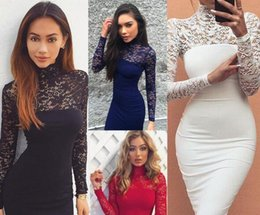 Barato Dresse De Manga Longa Para Mulheres-Lace Women Mini Dresses Outono Plus Size Sexy Empire Long Sleeve Hollow Out Slim Evening Dresse Black White Ziper P1709-02