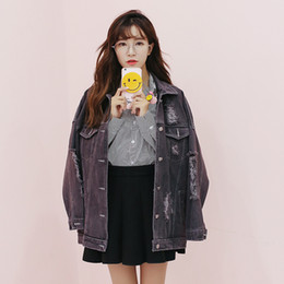 8bd0ddacfceea Jean Jacket Womens 2017 Autumn Korean Loose Womens Jackets And Coats Black  Frayed Holes Coat Women Plus Size Denim Jacket