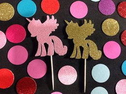 $enCountryForm.capitalKeyWord Canada - Custom personality NEW 30pcs glitter Baby Unicorn Party Cupcake Toppers Engagement Bachelorette birthday Wedding Bridal Shower toothpicks