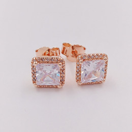 Gold earrinGs style online shopping - 925 Silver Beads Timeless Elegance Earrings Fits European Pandora Style Studs Jewelry Bracelets Necklace CZ Rose Gold Plated