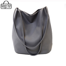 Ladies Cross Body Handbags Wholesale NZ - Wholesale- 2016 New Bucket Designer Ladies Cross Body Bags Designer Women Leather Handbags Black Bucket Shoulder Bags Tote Women Bag C1437