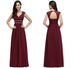 949647f105efe Burgundy New Designer Bridesmaid Dresses Long Cap Sleeves A Line Chiffon  Formal Evening Gowns with Crystal Wedding Guest Dresses CPS725