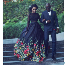 $enCountryForm.capitalKeyWord Canada - Black Floral Print Ball Gown Evening Dresses Long 2017 2 Piece Long Sleeves Backless Prom Party Dresses Keyhole Back Formal Dresses