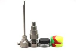 Titanium Nails 14 UK - Bong Tool Set 10 14 18mm Domeless Gr2 Titanium Nail Carb Cap Dabber Slicone Jar Glass Bong Smoking Water Pipes