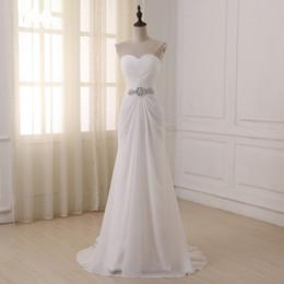 $enCountryForm.capitalKeyWord NZ - 2018 Simple Cheap Bohemian Wedding Dress Chiffon Sweetheart Bling Waist Crystals Rhinestone Beach Sheath Pleated Sweep Train Wedding Gowns