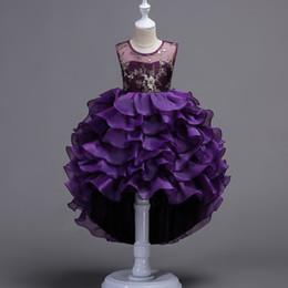 Toptan satış 2018 Çiçek Kız Elbise tül Topu Düğün Boncuk Dantel Boncuk Katmanlı Pageant 2017 Yaz Prenses Parti Elbiseler Elbise Balo Hi-Lo parti
