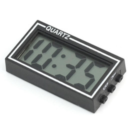 Car Led Clock Time NZ - Wholesale- Mini Digital LCD Car Dashboard Desk Date Time Calendar Clock with Double-sided tape