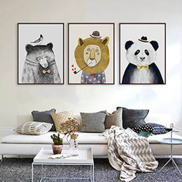 $enCountryForm.capitalKeyWord Canada - Modern Watercolor Cartoon Cute Animals Lion Bear Panda A4 Poster Print Wall Art Picture Nordic Baby Kids Room Home Decor Canvas Painting