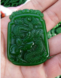 green jade carvings Canada - CHINESE OLD HANDWORK CARVE GREEN JADE DRAGON PENDAN G0