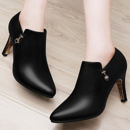 $enCountryForm.capitalKeyWord NZ - With Box New leather Women Dress Shoes Heel Pointed Toes Ankle High Heel Classic women high heel shoes Chains female zip Shoes Size 34-40 05
