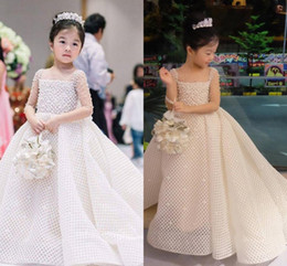 little pageant dresses color NZ - Luxurious Pearls 2018 Arabic Flower Girl Dresses Sheer Neck Sexy Child Wedding Dresses Vintage Little Girl Pageant Dresses FG11