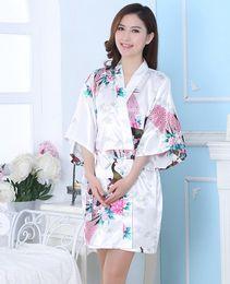 $enCountryForm.capitalKeyWord Canada - S-3XL Silk Satin Wedding Bride Bridesmaid Robe Short Kimono Night Robe Floral Bathrobe Peignoir Femme Fashion Dressing Gown For Women