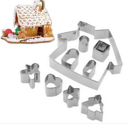 gingerbread cookies wholesale UK - 100sets lot, Stainless Steel Gingerbread House Cookie Cake Cutters Biscuit Bread Moldelling Mold Baking Set New Year
